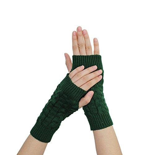 iKulilky Winter Fäustlinge Cable stricken Fingerlose Handschuhe Armstulpen Warm Strick Handschuhe Handstulpen Daumenlöcher Short Armwärmer Pulswärmer für Herren Damen