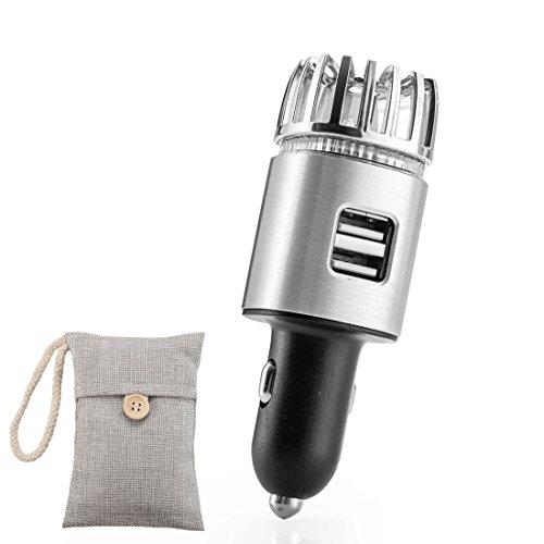 QILICZ 2 in 1 Auto Luftreiniger Dual USB Ports KFZ Lufterfrischer ionische Luftreiniger + natürlicher Bambus Lufterfrischer mit Aktivkohle für Automobil oder RV und Auto Geschenk -