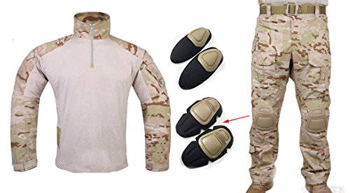 Los hombres del ejército militar Airsoft Paintball juego de guerra disparando Gen3G3táctica–Pantalones para uniforme de combate Camisa y pantalones traje con protector coderas y rodilleras Multicam Arid, Multicam Arid