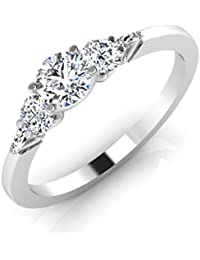 IskiUski White Gold And American Diamond Ring For Women - B075VHDHG7