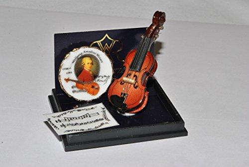 Unbekannt Set: Miniatur Violine Mozart - für Puppenstube - Maßstab 1:12 Porzellan / Kermik - Reutter - Puppenhaus - Musikinstrument Geige Musik / Geigen Instrument Inst..