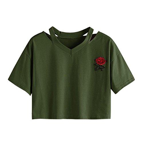 T Shirt Oyedens Damen Stieg Kurze HüLse LäSsig V Hals Bluse Armeegrün