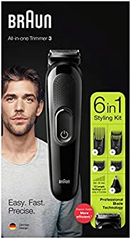 Braun MGK 3220,6-in-1 Rechargeable Beard Trimmer, Hair Clipper, Ear and Nose Trimmer, Black