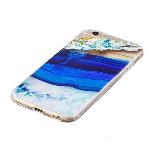 Custodia Cover iPhone 6/6S 4.7 Silicone Morbido,Ukayfe Ultra Slim Protezione Corpeture Case per iPhone 6/6S 4.7 in Gel TPU con Creativo Bella Pittura Disegno Acqua di Mare ,Soft Protettiva Custodia Br Onde 4#