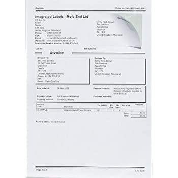 Sheets Of Integrated Label Invoice Paper A Sheet With Single - Integrated label invoice paper