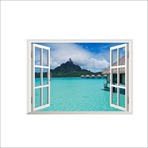 2PCS 3D Fenster Ansicht Wand Aufkleber Wand Dekor Aufkleber Ausgangs Abziehbild Wand Dekor (Strand-wand-abziehbilder Für Kinderzimmer)