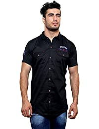 Villain Men's Cargo/Casual Shirt - Slim Fit Button Down Shirt With Double Pocket - Black
