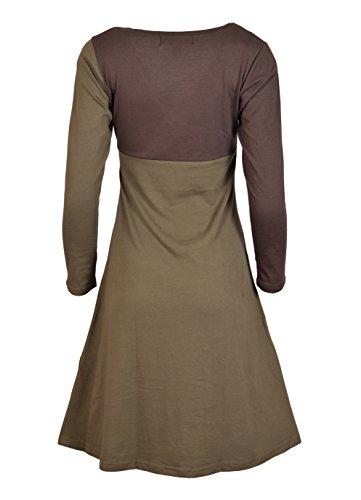 Vestito da sera di stampa della piuma del pavone del vestito dal cotone lungo del manicotto delle donne Marrone