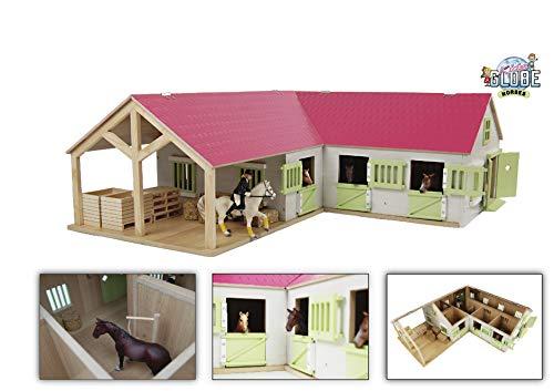 Van Manen Kids Globe Horses Pferdehof aus Holz - Maßstab 1:24, pink, mit beweglichen Türen, Fenster und Dach - 610210