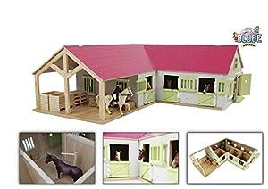 Van Manen Kids Globe Horses 610210 - Establo de Caballos de Madera (Escala 1:24, con Puertas, Ventanas y Techo móviles), Color Rosa