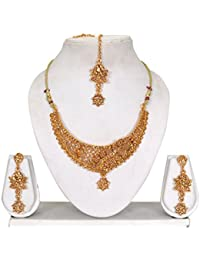 Vipin Store Golden Color Stone With Pearl Beads Gold Plated Jewelery Set