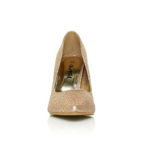 Scarpe Darcy con tacco a stilettp e brillantini champagne, con punta e decollete Brillantini Champagne