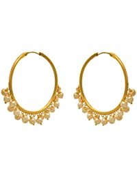 JFL - Traditional Ethnic Fusion One Gram Gold Plated Pearls Designer Bali Earring For Women & Girls