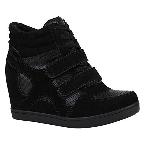 Stiefelparadies Damen Sneakers Keilabsatz Sneaker-Wedges Lack Glitzer Schuhe  148922 Schwarz. 14ef7524ec