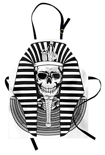 ABAKUHAUS König Kochschürze, Ägyptische Pharao-Machthaber-Mumie-Schädel-Skelett-Statue für Alten Ägypten-Liebhaber-Druck, Schmutz und Wasser abweichent Moderne Druck Technik, Weiß und ()