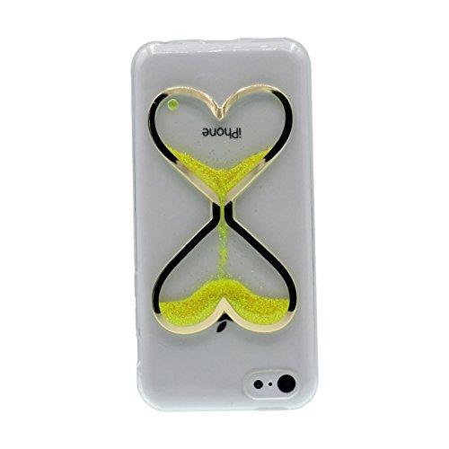 Apple iPhone 5C Coque Housse de Protection Case Antichoc Fine Slim Poids léger Style Souple Silicone Gel Original Sablier Forme Design Serie Divers Couleur Effacer Transparent - Bleu jaune