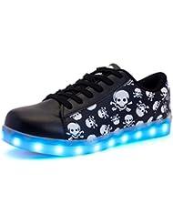 DoGeek Zapatos Led 7 Color USB Carga LED Glow Luminosos Zappatillas Para Hombres Mujeres (Elegir 1 tamaño más grande)