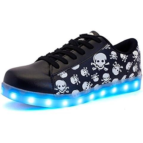 DoGeek Zapatos Led 7 Color USB Carga LED Glow Luminosos Zappatillas Para Hombres Mujeres (Elegir 1 tamaño más