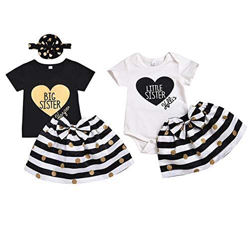 Passende Schwester Outfit Baby Mädchen Kleidung Set Big Sister T-Shirt und Rock Little Sister Strampler und Rock Sommer (Big Baby Mädchen Kostüm)