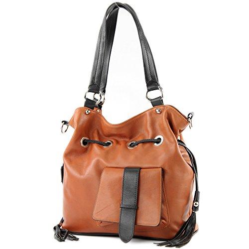 modamoda de - DS53 - ital Handtasche Schultertasche Nappaleder, Farbe:Camel/Dunkelbraun - Hobo Leder-camel