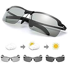 TJUTR Homme Lunette De Soleil Photochromiques Polarisées Conduite Pêche  Golf Eyewear 100% UVA UVB Protection 813f01aa2213