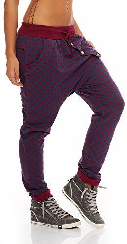 malito Sweatpants im Punkte Design Baggy 8520 Damen One Size Bordeaux