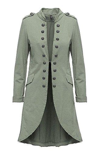 Madonna Damen Blazer Damenjacke Admiral Jacke Military Army Style Lang S -XXL XXXL (Khaki, XXXL / 46)