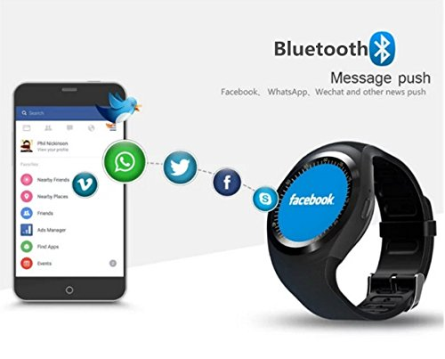 Supreno Unisex Y1 Smartwatch Round Nano SIM TF Card with Whatsapp Facebook  Fitness Business for Android Smartphones   Electronics, Mobile Speakers,