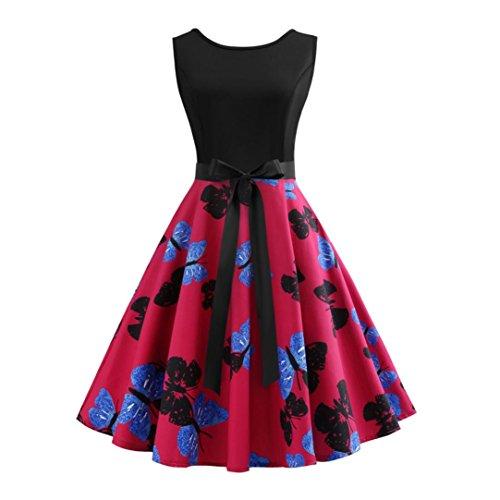 (TEBAISE Sommer-Frauen, die formales Weinlese-Sleeveless O-Ansatz-Schmetterlings-gedrucktes Abend-Partei-Abschlussball-Schwingen-Kleid-geraden Rock Wedding sind(Hot pink,EU-44/CN-2XL))