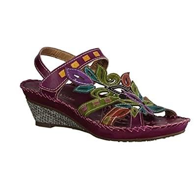 Laura Vita Sauge, sandale femme, cuir, violet, T.37