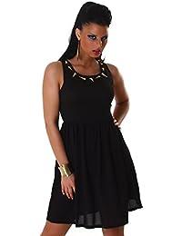 Jela London Damen leichtes Kleid mit Metallspitzen Muster auf dem Dekollete