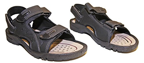 Sandales à Scratch velcro Claquettes Tong Homme similicuir Noir