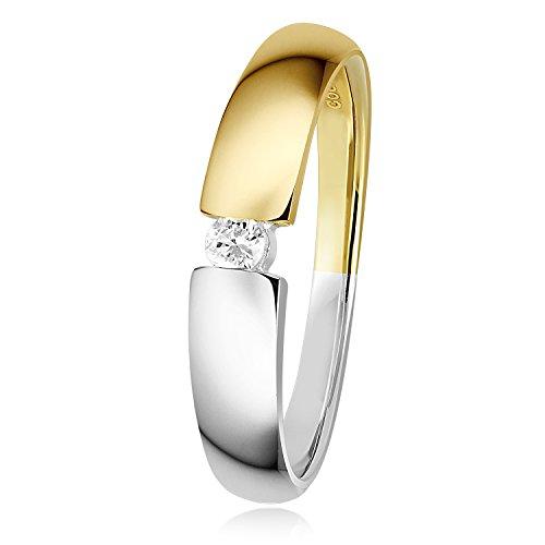 Diamond Line Diamant-Ring Damen 585 Gelbgold mit 1 Diamanten 0.05ct. Lupenrein
