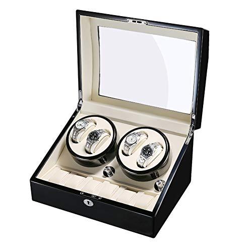 Automatischer Uhrenbeweger Watch Winder mit Ruhiger Motor für Herren Automatikuhren Die Bedienung ist einfach Uhrenbox Uhrendreher 4+6 Sichtfenster