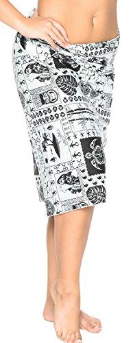 womens navigare ondulato gonna bikini costumi da bagno di cotone leggero coprire sarong Nero 6
