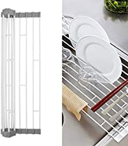 Roll Up Dish Drying Rack, 17 inch Stainless Steel In Sink Dish Drying Rack, Multipurpose Foldable Kitchen Sink