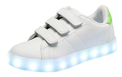 Santiro Child 7 Colors Light Up Trainers for Boy Girl USB Charging Velcro Luminous Sneaker.SSK014W1-31