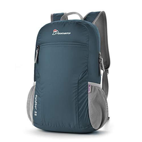 MOUNTAINTOP 10L/12L/25L Faltbarer Rucksack für Männer, Frauen und Kinder - als Reiserucksack,Tagesrucksack,Handgepäck (Bluish Grey)