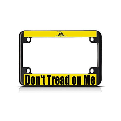 (Don't Tread On Me schwarzes Metall Fahrrad Motorrad Kennzeichen Rahmen Tag perfekt für Herren Damen Auto Garadge Dekor)