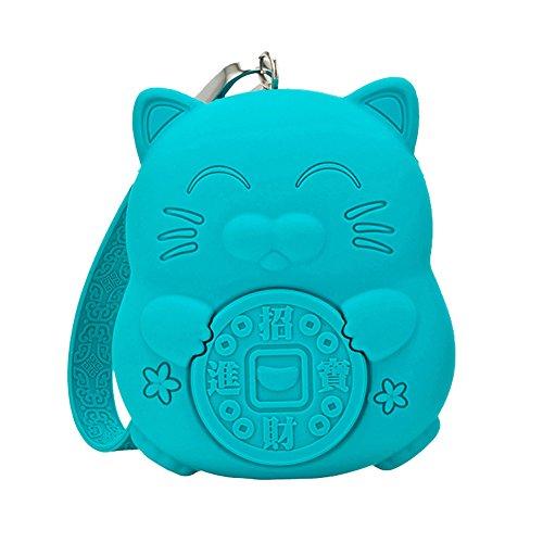 Preisvergleich Produktbild Meta-U Squishy Münzen Geldbörse - Qualität Silikon - Nette Katze - Große Kapazität - Türkisblau