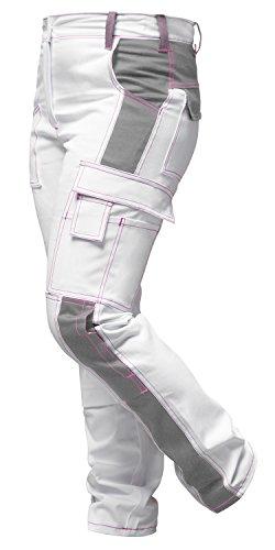 Strongant pantaloni elastici da lavoro donna bianco, tasca per ginocchiere, cerniera lampo ykk + bottone ykk - kermen - fatto nell'ue bianco-grigio cucitura rosa 42