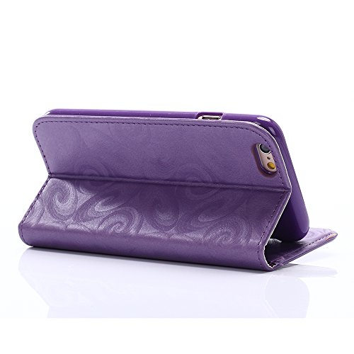C-Super Mall-UK Apple iPhone 6 Plus / 6s Plus 5.5 Inch hülle: Schmücken Treibsand Patterns Qualität PU-Leder Brieftasche Stand Flip hülle für Apple iPhone 6 Plus / 6s Plus 5.5 Inch(Kelchglas) purple