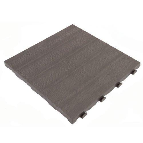 Art Plast Kit 7 Piastrelle da esterno, in polipropilene con Effetto Doghe Legno, Marrone, 400 x 400 x 26.5 mm