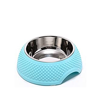 AsentechUK® Stainless Steel Pet Dog Cat Puppy Bowl Food Water Feeder Dish Rubber Ring Skid Design Pet Feeding Supplies (Blue)