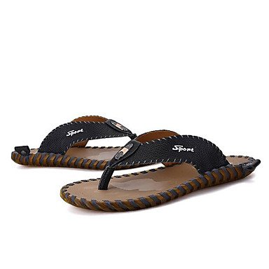 Slippers & amp da uomo;Estate Comfort pelle bovina casuale, sandali Arancione sandali Black