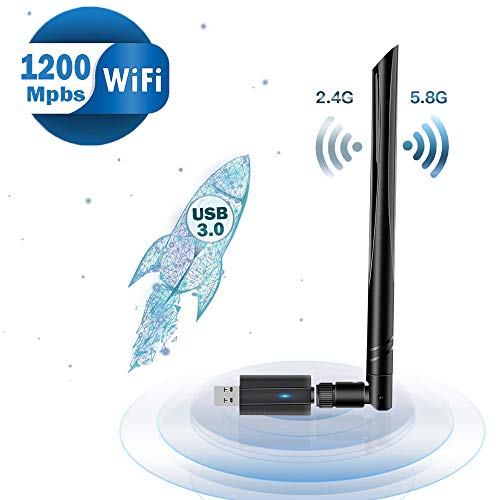 Lanero WLAN Stick 1200Mbit/s (5G/867Mbps + 2.4G/300Mbps) WiFi Adapter USB 3.0 für Windows, Vista, Linux, MAC, PC/Desktop/Laptop