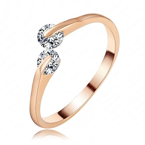 Jewels Galaxy Exclusive Luxuria Edition AAA Swiss American Diamond Magnificent 18K Rose Gold Free Size Ring For Women/Girls