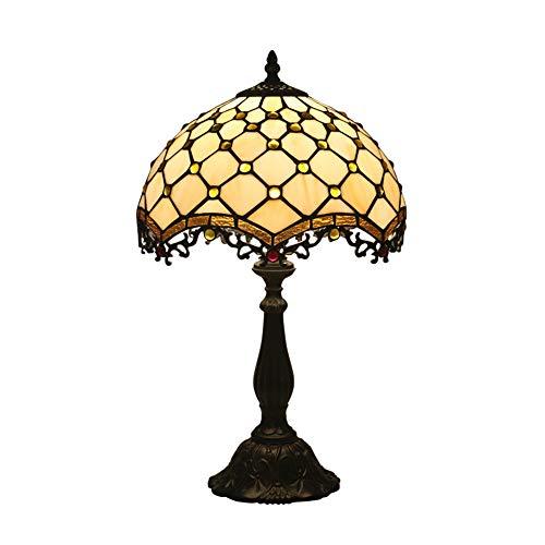 SEEKSUNG 12-Zoll Tiffany Tischlampe Vintage Pastoral Glasmalerei Lampenschirm-Zinklegierung Base - Schlafzimmer Lampe Nachttischlampe, Durchmesser 30 cm Höhe 49 cm (Glasmalerei Lampenschirm)