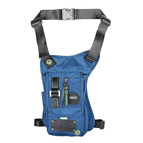 Innturt nylon Tactical gamba borsa messenger marsupio moto, Grey Blue