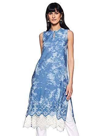 BIBA Women's Straight Kurta (DENIM12422_Light Blue_32)